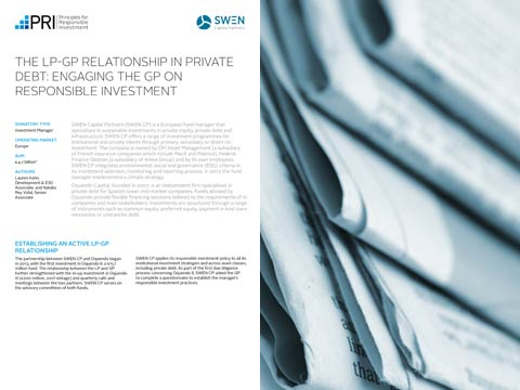 The LP-GP relationship in private debt: engaging the GP on responsible investment