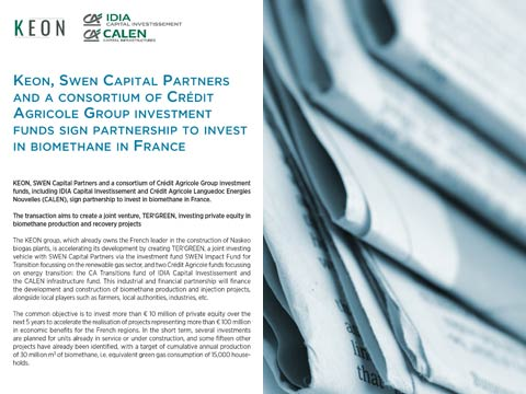 Keon, SWEN Capital Partners and a consortium of Crédit Agricole Group investment funds sign partnership to invest in biomethane in France