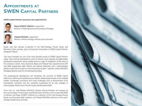 Appointments at SWEN Capital Partners