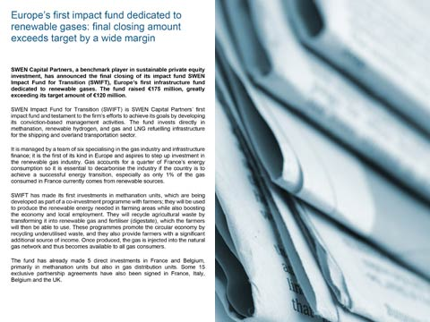 Europe's first impact fund dedicated to renewable gases: final closing amount exceeds target by a wide margin