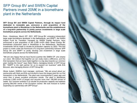 SFP Group BV and SWEN Capital Partners invest 20M€ in a biomethane plant in the Netherlands