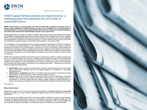 SWEN Capital Partners publishes its Impact Doctrine, a challenging topic that represents the new frontier of responsible finance
